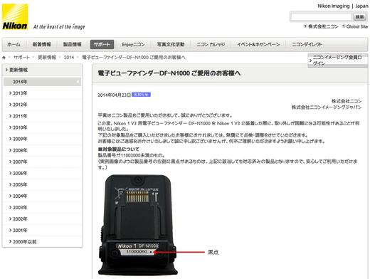 電子ビューファインダーDF-N1000不具合