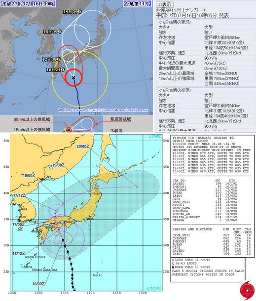 台風11号(ナンカー)の予想進路